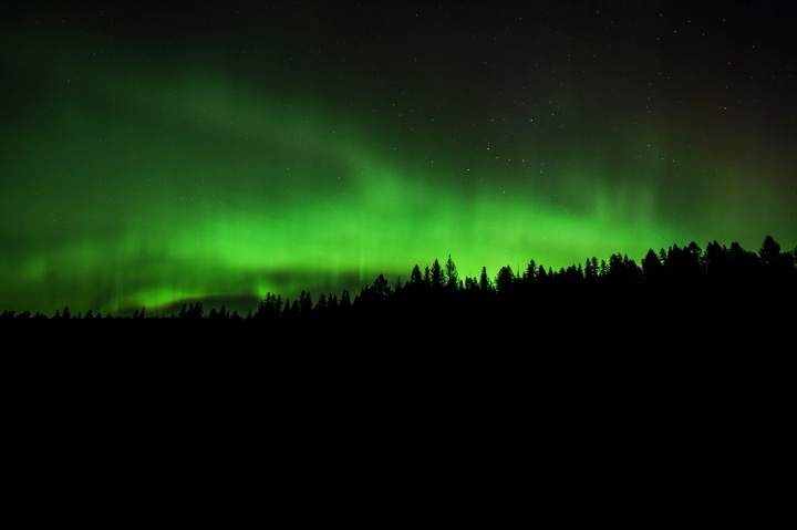 The northern lights flicker over Montana.