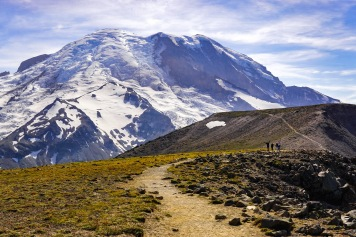 A trail takes you to an overlook in Mount Rainier National Park in Washington.