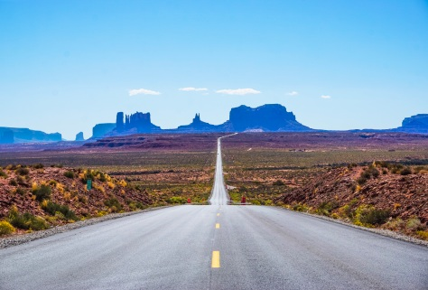 The road to Monument Valley on a clear summer day.