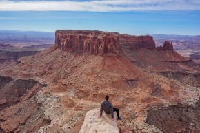 Enjoying the view from Grand View Ovelrook in Canyonlands National Park, Utah