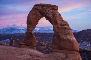 Sunset over Delicate Arch in Arches National Park, Utah