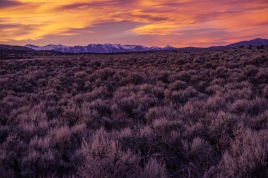 Sunset over the mountains near Wells, Nevada